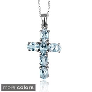 Silver Aquamarine Gemstone Cross Pendant