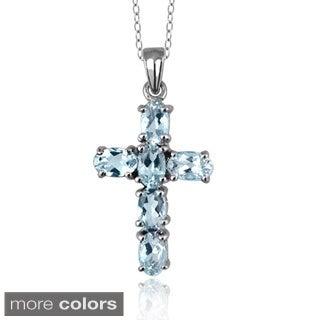 Silver Aquamarine Gemstone Cross Pendant
