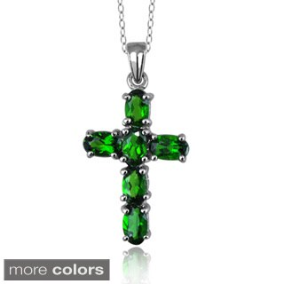 Silver Green Chrome Diopside Gemstone Cross Pendant