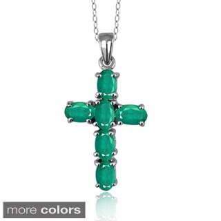 Silver Emerald Gemstone Cross Pendant
