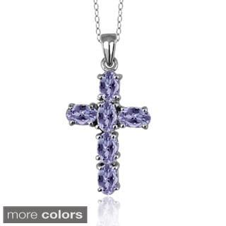 Silver Tanzanite Tanzanite Cross Pendant Necklace