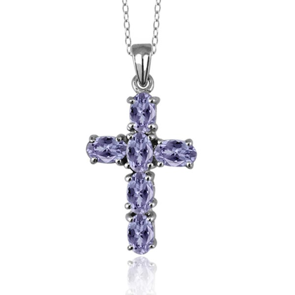 Tanzanite Necklace Tanzanite: Shop Silver Tanzanite Tanzanite Cross Pendant Necklace