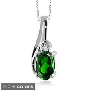Silver Green Chrome Diopside Gemstone and White Diamond Accent Pendant