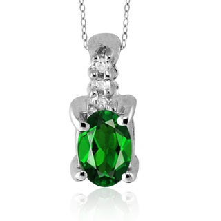 Silver Chrome Diopside Gemstone and White Diamond Accent Pendant