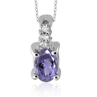 Silver Tanzanite Gemstone and White Diamond Accent Pendant