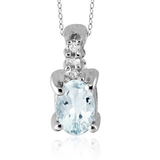 Rhodium-plated Silver Aquamarine and Diamond Accent Pendant