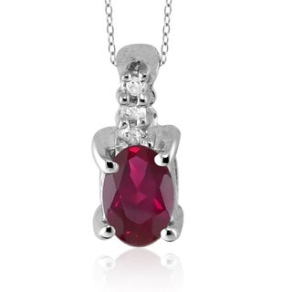 Silver Ruby Gemstone and White Diamond Accent Pendant