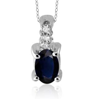 Silver Sapphire Gemstone and White Diamond Accent Pendant