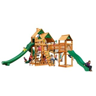 Gorilla Playsets Treasure Trove II Amber-stained Cedar Swing Set with Natural Cedar Posts