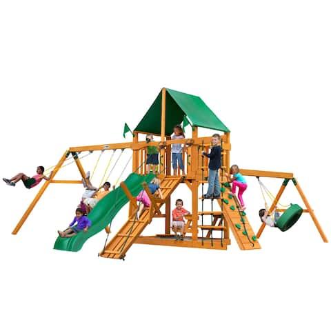 Gorilla Playsets Frontier Cedar Swing Set with Natural Cedar Posts