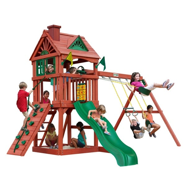 Shop Gorilla Playsets Nantucket Wooden Swing Set With Rock Climbing