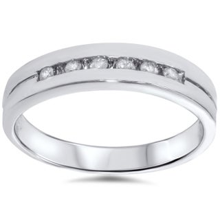 14k White Gold 1/ 4ct TDW Men's Channel Set Diamond Wedding Ring (More options available)