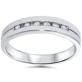 14k White Gold 1/ 4ct TDW Men's Channel Set Diamond Wedding Ring