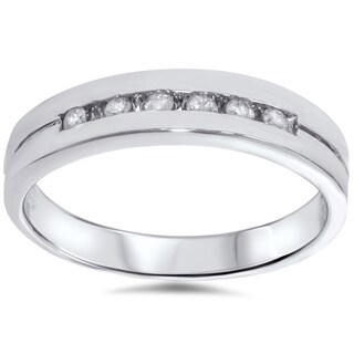 14k White Gold 1/ 4ct TDW Men's Channel Set Diamond Wedding Ring