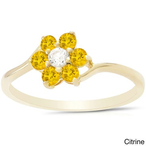 Dolce Giavonna Sterling Silver Gemstone Flower Ring