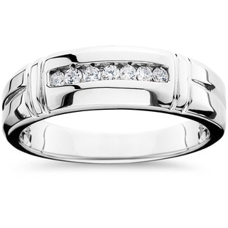 14k White Gold 1/4ct TDW Men's Channel Set Diamond Wedding Band (I-J, I2-I3)