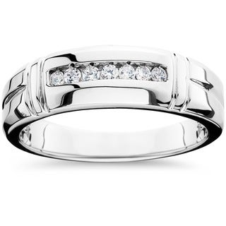 14k White Gold 1/4ct TDW Men's Channel Set Diamond Wedding Band