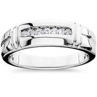 14k White Gold 1/4ct TDW Men's Channel Set Diamond Wedding Band