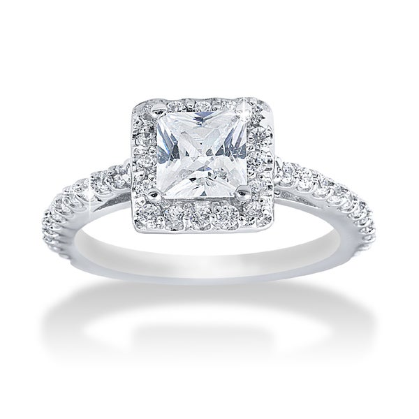 14k White Gold 1.1ct TDW Princess Diamond Halo Engagement Ring