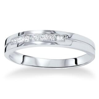 14k White Gold 2 5ct TDW Men S Princess Cut Channel Set Diamond Wedding Band