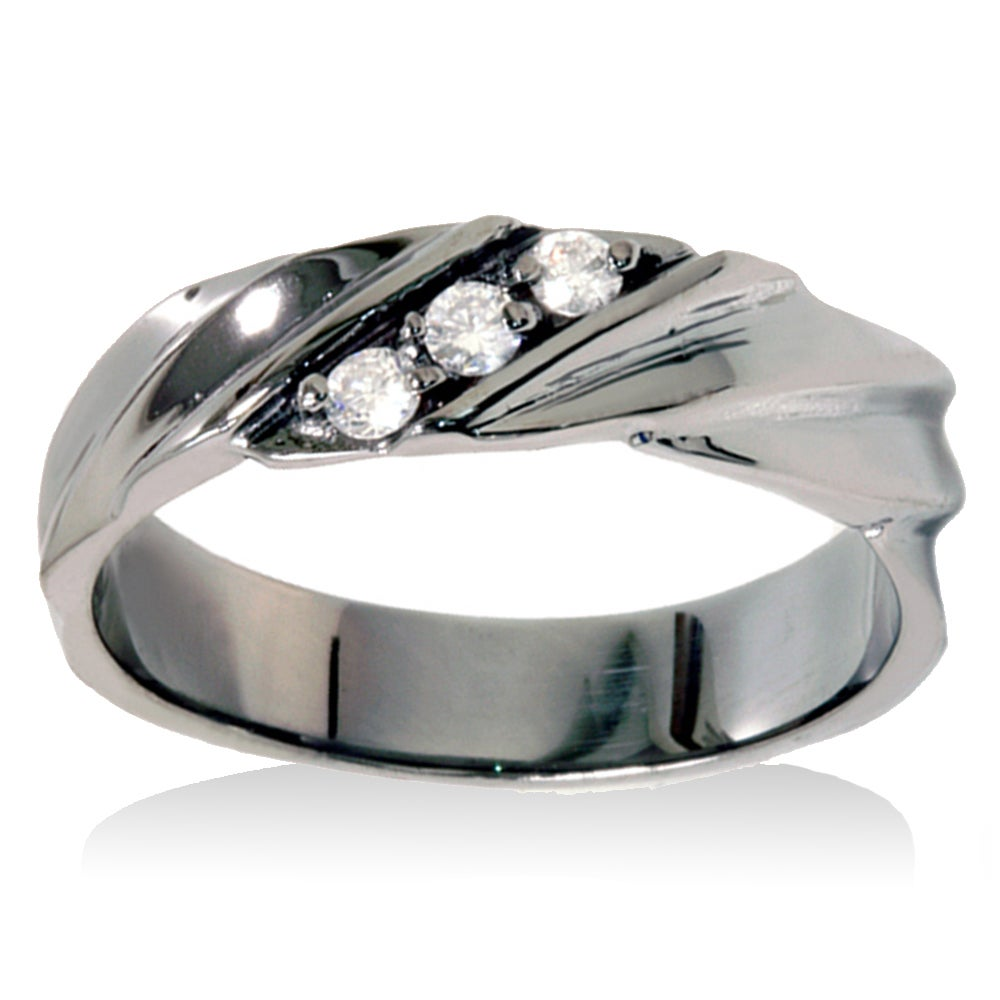 059b9ed7836 14k Black Rhodium-plated White Gold 1/5ct TDW Men's 3-stone Diamond Wedding  Ring