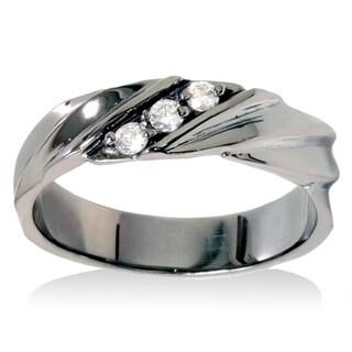 14k Black Rhodium-plated White Gold 1/5ct TDW Men's 3-stone Diamond Wedding Ring (I-J, I2-I3)