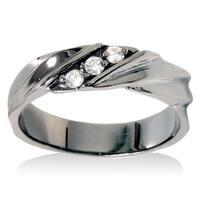 14k Black Rhodium-plated White Gold 1/5ct TDW Men's 3-stone Diamond Wedding Ring