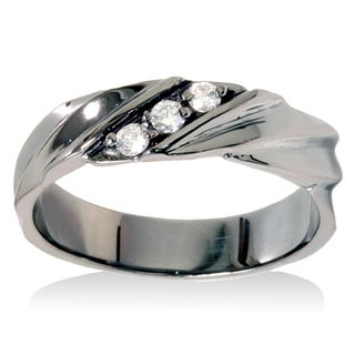14k Black Rhodium-plated White Gold 1/5ct TDW Men's 3-stone Diamond Wedding Ring