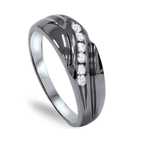 14k Black Rhodium-plated White Gold 1/4ct TDW Men's Channel Set Diamond Wedding Ring