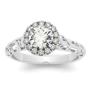14k White Gold 5/8ct TDW Vintage-style Diamond Filigree Engagement Ring (I-J, I2-I3)