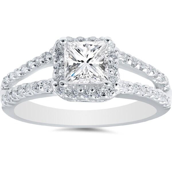 14k White Gold 1ct TDW Princess Diamond Halo Split Shank Engagement Ring