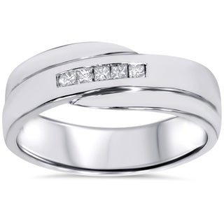 10k White Gold 1/ 6ct TDW Men's Princess-cut Diamond Wedding Ring (I-J, I2-I3)
