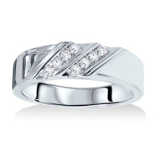 14k White Gold 1/10ct TDW Men's Diamond Wedding Ring