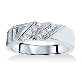 14k White Gold 1/10ct TDW Men's Diamond Wedding Ring