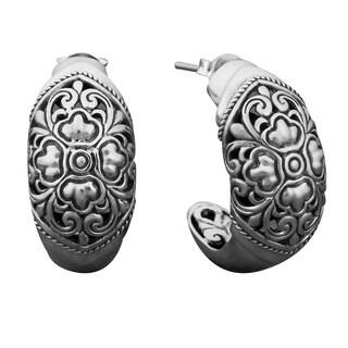 Handmade Sterling Silver Secret Garden Hoops Earrings (Indonesia)