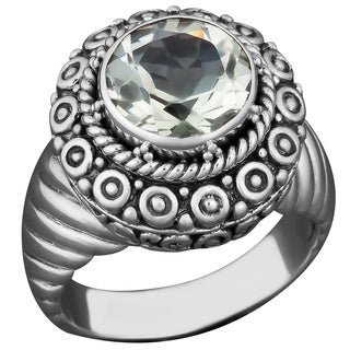 Sterling Silver Green Amethyst Solitaire Cawi Ring (Indonesia)
