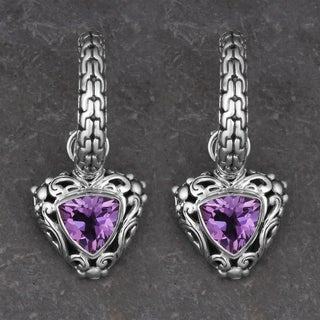 Sterling Silver Amethyst 'Glowing Hearts' Half Hoop Earrings (Indonesia)