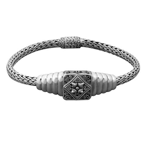 Handmade Sterling Silver Balinese Floral Bracelet (Bali)