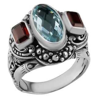 Sterling Silver Blue Topaz, Garnet Cawi Ring (Indonesia)