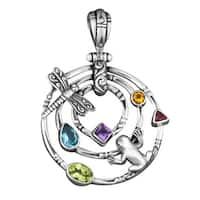Handmade Silver Multistone Frog Meets Dragonfly Pendant (Indonesia) - Purple