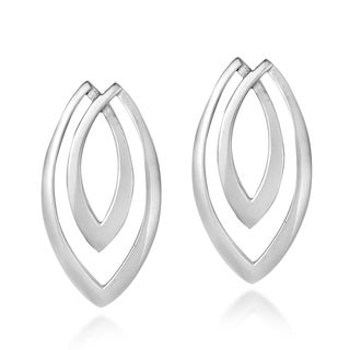 Handmade Layered Marquise .925 Sterling Silver Post Earrings (Thailand)