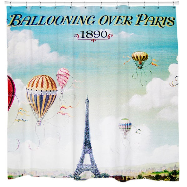 Ballooning Over Paris 1890 Shower Curtain