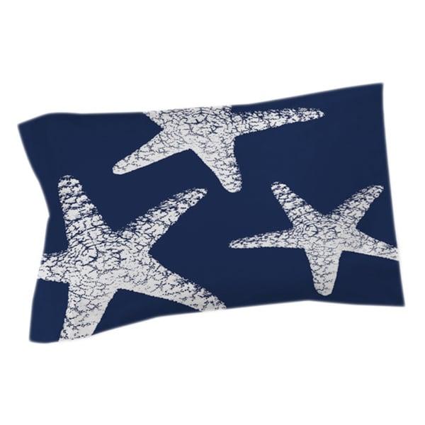 Nautical Nonsense White Blue Starfish Sham
