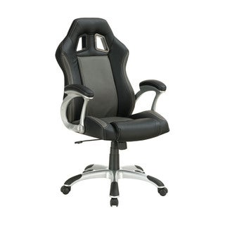 Grey/ Black Contemporary Adjustable Vinyl Office Chair