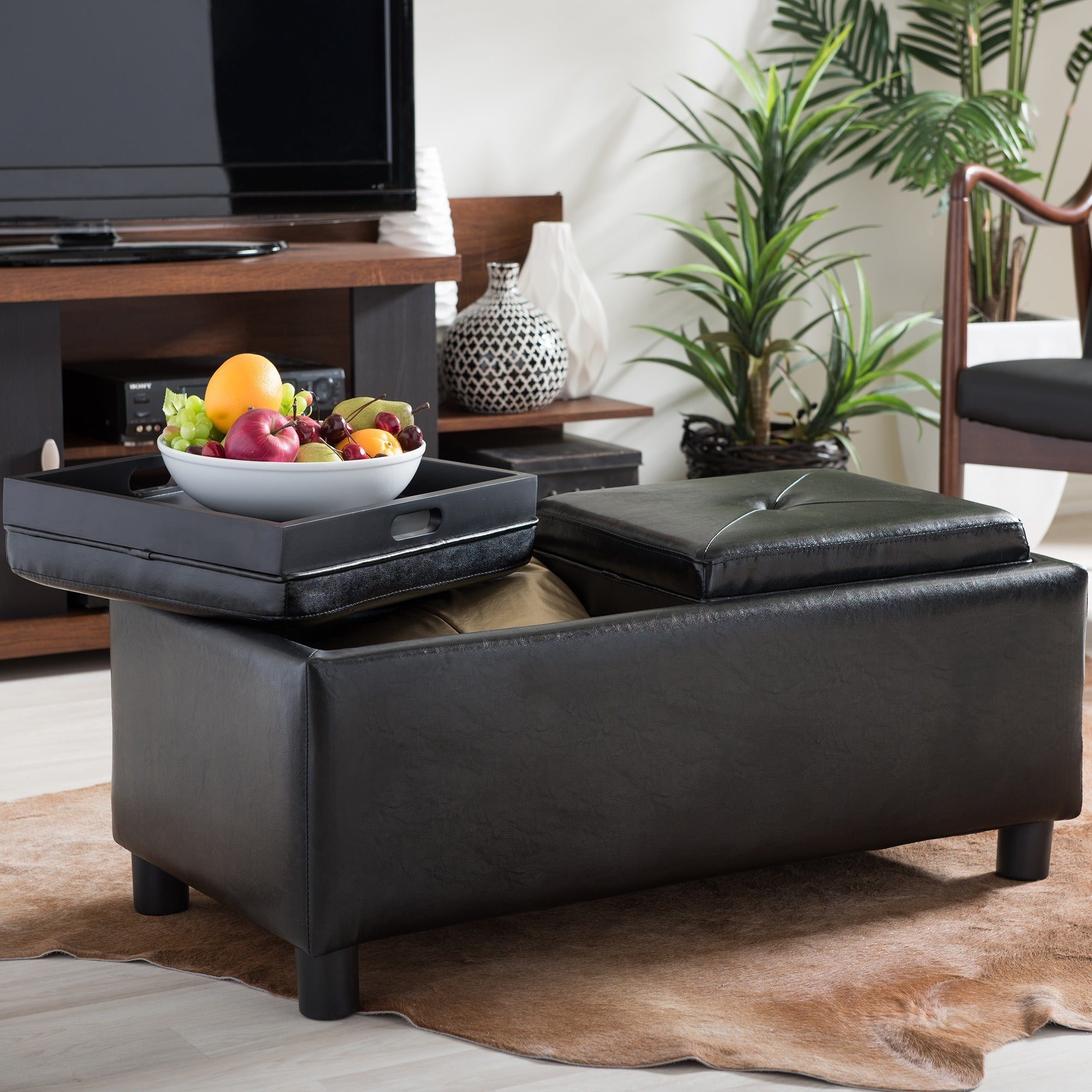 Superb Baxton Studio Billiard Rectangular Dark Brown Bonded Leather Storage Ottoman With Serving Trays Caraccident5 Cool Chair Designs And Ideas Caraccident5Info