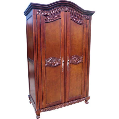 D-Art Collection Mahogany Wood Old English Armoire