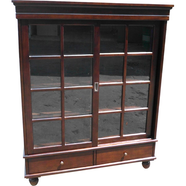 D-Art Collection Solid Mahogany Wood Sliding Door Curio  sc 1 st  Overstock.com & Shop D-Art Collection Solid Mahogany Wood Sliding Door Curio - Free ...