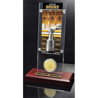 NHL Boston Bruins Boston Bruins 6x Stanley Cup Champions Ticket and Bronze Coin Acrylic Display