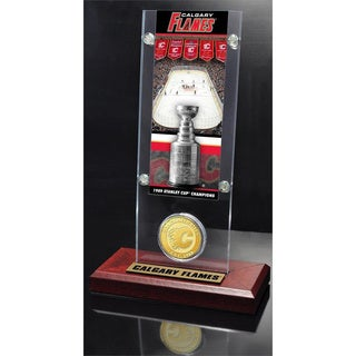 NHL Calgary Flames Calgary Flames Stanley Cup Champions Ticket and Bronze Coin Acrylic Display