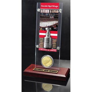NHL Detriot Redwings Detriot Redwings 11x Stanley Cup Champions Ticket and Bronze Coin Acrylic Display